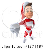 3d Unhappy Young Super Hero Santa Holding Down A Thumb