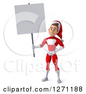 3d Young Super Hero Santa Holding Up A Blank Sign