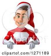3d Young Super Hero Santa Smiling Over A Sign