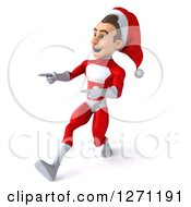3d Young Super Hero Santa Walking And Pointing To The Left With Big Strides