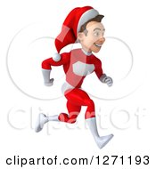 3d Young Super Hero Santa Running To The Right