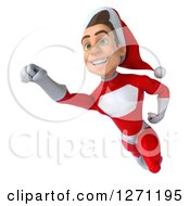 3d Young Super Hero Santa Flying To The Left 2