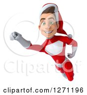 3d Young Super Hero Santa Flying To The Left And Smiling At The Viewer