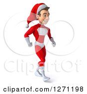 3d Young Super Hero Santa Walking To The Right