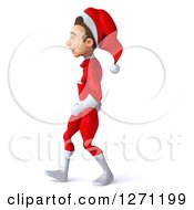3d Young Super Hero Santa Walking To The Left