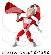 3d Young Super Hero Santa Announcing To The Left With A Megaphone