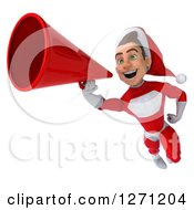 Clipart Of A 3d Young Super Hero Santa Flying And Announcing With A Megaphone Royalty Free Illustration