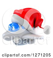 Clipart Of A 3d Happy White Airplane Flying To The Left And Wearing A Christmas Santa Hat Royalty Free Illustration