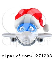 Clipart Of A 3d Happy White Airplane Wearing A Christmas Santa Hat Royalty Free Illustration