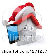 Clipart Of A 3d Happy White Christmas House Character Holding Out A Smart Phone Royalty Free Illustration