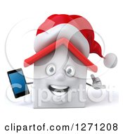 Clipart Of A 3d Happy White Christmas House Character Holding A Smart Phone And Gesturing Call Me Royalty Free Illustration