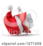 Clipart Of A 3d Happy White Christmas House Character Facing Right And Cartwheeling Royalty Free Illustration by Julos