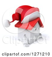 Clipart Of A 3d Unhappy White Christmas House Character Facing Right And Pouting Royalty Free Illustration by Julos