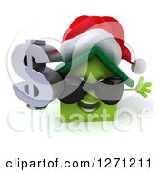 Clipart Of A 3d Happy Green Christmas House Character Wearing Sunglasses And Holding A Dollar Sign Royalty Free Illustration by Julos