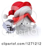 Clipart Of A 3d Unhappy White Christmas House Character Holding A Thumb Down And Euro Currency Symbol Royalty Free Illustration by Julos