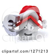 Clipart Of A 3d Happy White Christmas House Character Holding A Euro Currency Symbol Royalty Free Illustration by Julos