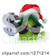 Clipart Of A 3d Unhappy Green Christmas House Character Wearing Sunglasses Holding A Thumb Down And Dollar Sign 2 Royalty Free Illustration by Julos