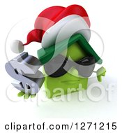 Clipart Of A 3d Unhappy Green Christmas House Character Wearing Sunglasses Holding A Thumb Down And Dollar Sign Royalty Free Illustration by Julos