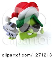 Clipart Of A 3d Happy Green Christmas House Character Wearing Sunglasses Holding A Thumb Up And Dollar Sign 2 Royalty Free Illustration by Julos