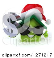 Clipart Of A 3d Happy Green Christmas House Character Wearing Sunglasses Holding A Thumb Up And Dollar Sign Royalty Free Illustration by Julos