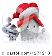 Clipart Of A 3d Unhappy White Christmas House Character Holding A Thumb Down And Dollar Symbol Royalty Free Illustration by Julos