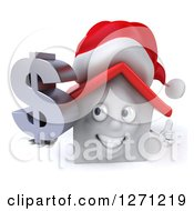 Clipart Of A 3d Happy White Christmas House Character Holding A Thumb Up And Dollar Symbol Royalty Free Illustration by Julos
