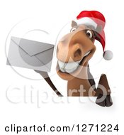 Clipart Of A 3d Brown Christmas Horse Holding An Envelope Over A Sign Royalty Free Illustration
