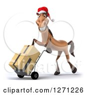 Clipart Of A 3d Brown Christmas Horse Facing Left And Moving Boxes On A Dolly Royalty Free Illustration