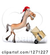 Clipart Of A 3d Brown Christmas Horse Facing Right And Moving Boxes On A Dolly Royalty Free Illustration