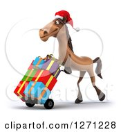 Clipart Of A 3d Brown Christmas Horse Facing Left And Pushing Gifts On A Dolly Royalty Free Illustration