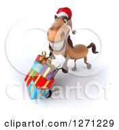Clipart Of A 3d Brown Christmas Horse Facing Left Smiling Upwards And Pushing Gifts On A Dolly Royalty Free Illustration