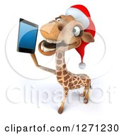 Clipart Of A 3d Christmas Giraffe Talking On A Smart Phone Royalty Free Illustration