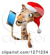 Clipart Of A 3d Christmas Giraffe Talking On A Smart Phone Over A Sign Royalty Free Illustration