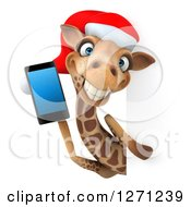 Clipart Of A 3d Christmas Giraffe Holding A Smart Phone Around A Sign Royalty Free Illustration