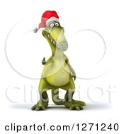 Clipart Of A 3d Green Christmas Dinosaur Holding A Thumb Up Royalty Free Illustration