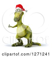 Clipart Of A 3d Green Christmas Dinosaur Facing Slightly Left And Holding A Thumb Up Royalty Free Illustration