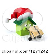 Clipart Of A 3d Happy Green Christmas House Character Moving Boxes On A Dolly Royalty Free Illustration by Julos