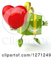 Clipart Of A 3d Green Gift Chacter Facing Slightly Right And Jumping With A Heart Royalty Free Illustration
