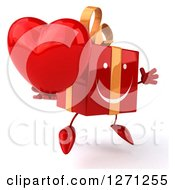 Clipart Of A 3d Red Gift Character Facing Slightly Right And Jumping With A Heart Royalty Free Illustration
