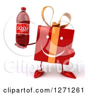 Clipart Of A 3d Happy Red Gift Character Holding And Pointing To A Soda Bottle Royalty Free Illustration