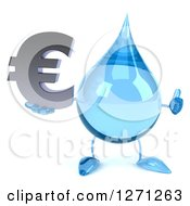 Clipart Of A 3d Water Drop Character Holding A Euro Symbol And Thumb Up Royalty Free Illustration
