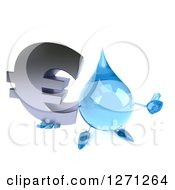 Clipart Of A 3d Water Drop Character Holding Up A Thumb And A Euro Symbol Royalty Free Illustration