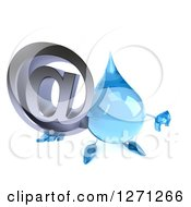 Clipart Of A 3d Water Drop Character Holding Up An Email Arobase Symbol And Thumb Down Royalty Free Illustration