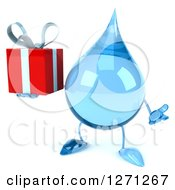 Clipart Of A 3d Water Drop Character Shrugging And Holding A Gift Royalty Free Illustration