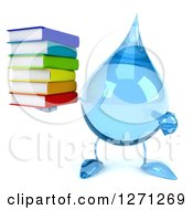 Clipart Of A 3d Water Drop Character Holding And Pointing To A Stack Of Books Royalty Free Illustration