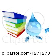 Clipart Of A 3d Water Drop Character Holding A Thumb Down And A Stack Of Books Royalty Free Illustration