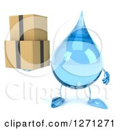 Clipart Of A 3d Water Drop Character Holding Boxes Royalty Free Illustration