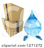 Clipart Of A 3d Water Drop Character Holding Up Boxes Royalty Free Illustration