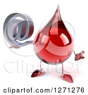 Clipart Of A 3d Hot Water Or Blood Drop Mascot Shrugging And Holding An Arobase Email Symbol Royalty Free Illustration