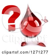 Clipart Of A 3d Hot Water Or Blood Drop Mascot Holding Up A Finger And A Question Mark Royalty Free Illustration